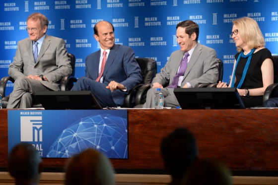 """Michael Milken of the Institute (second from left) with """"Prevention and Wellness"""" panelists (from left) Troyen Brennan of CVS Caremark, CDC Director Thomas Frieden and Lynn Goldman of the Milken Institute School of Public Health at George Washington University. Image via Milken Institute."""