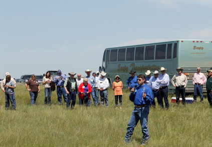 Ranchers are continually working to improve their skills and learn about new management techniques in classes like this range tour in Miles City, Montana. Photo credit: Montana Stockgrowers Association