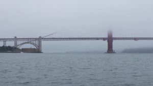 Our foggy view of the Golden Gate Bridge from on the water