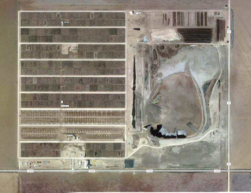 A satellite view of the feedlot where my family sent our cattle for finish feeding. Wrangler Feedyard, Tulia, TX