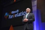 General Colin Powell speaks at the opening of Alltech Rebelation in Lexington, Kentucky.