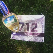 yellowstone half marathon medal and bib