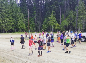 Participants of the start of the Trail Rail Run 50 mile relay near Mullan, Idaho.